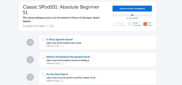 SpanishPod101 Learning Paths