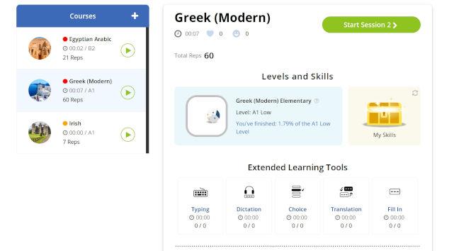 Glossika language learning dashboard